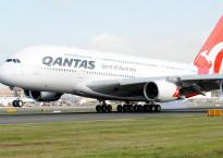 The First A380 for Australian Carrier QANTAS arrives at Sydney's International Airport Australia