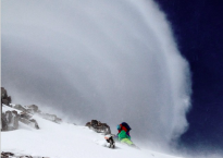 Salomon Freeski getting pounded by the conditions