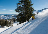 Jonny Moseley skiing the fresh powder at Squaw Valley