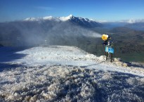 Making snow on the main M1 trail at Queenstown's Coronet Peak
